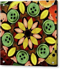 Buttons Abstract Acrylic Print by Bonnie Bruno