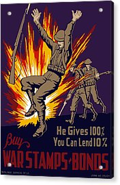 Buy War Stamps And Bonds Acrylic Print by War Is Hell Store