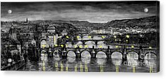 Bw Prague Bridges Acrylic Print by Yuriy  Shevchuk
