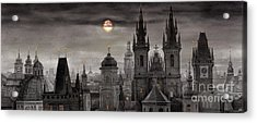 Bw Prague City Of Hundres Spiers Acrylic Print by Yuriy  Shevchuk