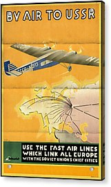 By Air To Ussr With The Soviet Union's Chief Cities - Vintage Poster Folded Acrylic Print