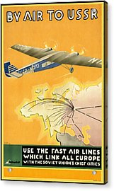 By Air To Ussr With The Soviet Union's Chief Cities - Vintage Poster Restored Acrylic Print
