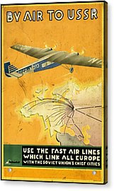 By Air To Ussr With The Soviet Union's Chief Cities - Vintage Poster Vintagelized Acrylic Print