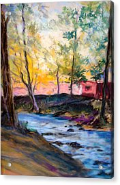 Acrylic Print featuring the painting By Clear Blue Waters by AnnE Dentler