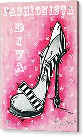 By Pink Design By Madart Acrylic Print by Megan Duncanson