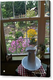 By The Garden Window In North Carolina Acrylic Print by Anna Lisa Yoder