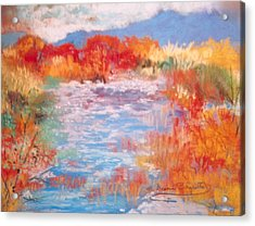 Acrylic Print featuring the painting By The River by M Diane Bonaparte