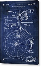 Bycicle Attached Toy Machine Gun Patent Blueprint, Year 1951 Blue Vintage Art Acrylic Print by Pablo Franchi