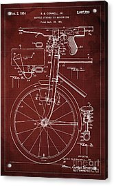 Bycicle Attached Toy Machine Gun Patent Blueprint, Year 1951 Red Vintage Art Acrylic Print