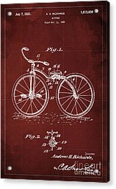 Bycicle Patent Blueprint Year 1930 Red Vintage Poster Acrylic Print by Pablo Franchi