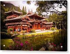 Byodo-in Temple Acrylic Print by Mickey Clausen