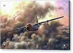 Acrylic Print featuring the painting C-130 Hercules by Dave Luebbert