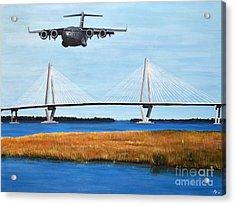 C-17 And Ravenel Bridge Acrylic Print