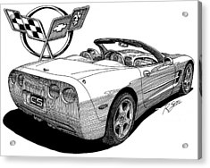 Acrylic Print featuring the drawing C-5 Corvette Convertible by Rod Seel