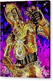 Acrylic Print featuring the mixed media  C-3po by Matra Art