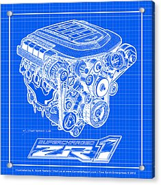 C6 Zr1 Corvette Ls9 Engine Blueprint Acrylic Print