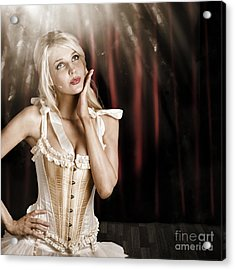 Cabaret Showgirl On Smoky Theater Stage Acrylic Print