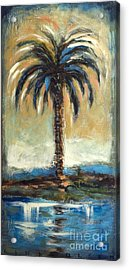 Cabbage Palm Antiqued Acrylic Print by Linda Olsen