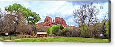 Acrylic Print featuring the photograph Cabin At Cathedral Rock Panorama by James Eddy