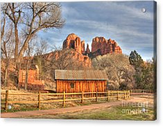 Cabin At Cathredral Rock Acrylic Print by Kenneth Johnson