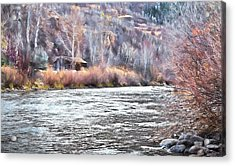 Cabin By The River In Steamboat,co Acrylic Print by James Steele