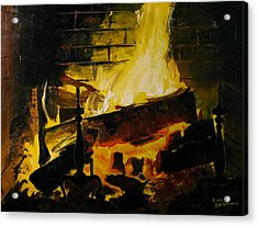 Cabin Fireplace Acrylic Print by Doug Strickland