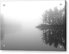 Cabin In The Foggy Woods Acrylic Print