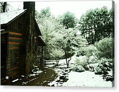 Cabin In The Snow Acrylic Print by Adam LeCroy