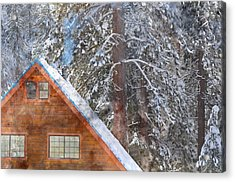 Cabin In The Snow Acrylic Print by Brandon Bourdages