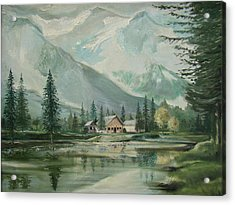 Cabin In The Valley Acrylic Print by Charles Roy Smith