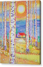 Cabin In The Woods Acrylic Print by Connie Valasco