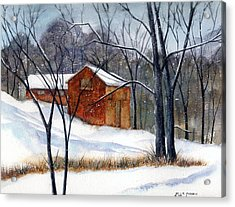 Cabin In The Woods Acrylic Print by Debbie Lewis