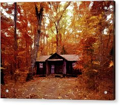 Acrylic Print featuring the painting Cabin In The Woods P D P by David Dehner