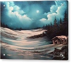 Cabin In The Woods  Acrylic Print by Paintings by Justin Wozniak