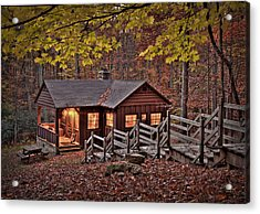 Acrylic Print featuring the photograph Cabin In The Woods by Williams-Cairns Photography LLC