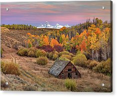 Acrylic Print featuring the photograph Cabin Under The Tetons by Leland D Howard