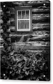 Cabin Window In Black And White Acrylic Print by Greg and Chrystal Mimbs
