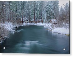 Acrylic Print featuring the photograph Cabins On The Metolius by Cat Connor