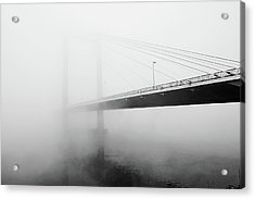 Cable Bridge Disappears In Fog Acrylic Print by Photos by Sonja