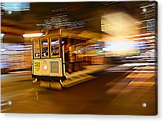 Cable Car At Light Speed Acrylic Print by Steve Siri