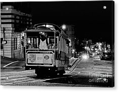 Cable Car At Night - San Francisco Acrylic Print