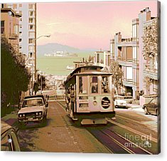 Cable Car On Hyde Street Hill San Francisco Acrylic Print by Padre Art