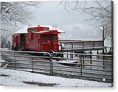 Caboose In Snow Acrylic Print by Eric Armstrong