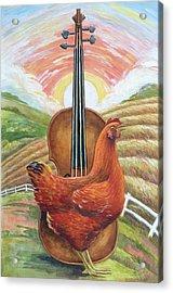 Cacklin Hen Acrylic Print by Paula Blasius McHugh