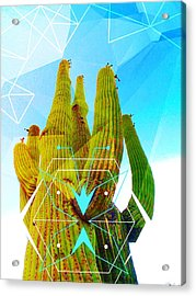 Acrylic Print featuring the mixed media Cacti Embrace by Michelle Dallocchio