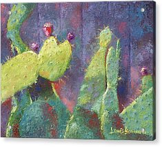 Prickly Pear Cactus Against Fence Acrylic Print