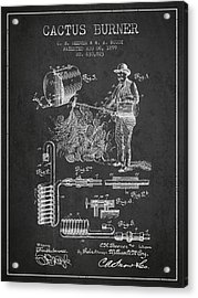 Cactus Burner Patent From 1899 - Charcoal Acrylic Print