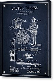 Cactus Burner Patent From 1899 - Navy Blue Acrylic Print