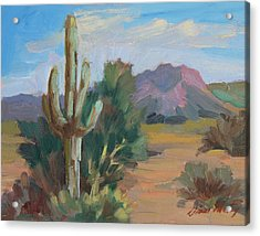 Acrylic Print featuring the painting Cactus By The Red Mountains by Diane McClary