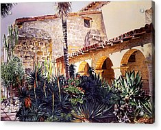 Cactus Courtyard Mission Santa Barbara Acrylic Print by David Lloyd Glover